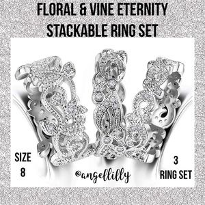 Gorgeous Floral Vines Eternity Stackable Ring Set
